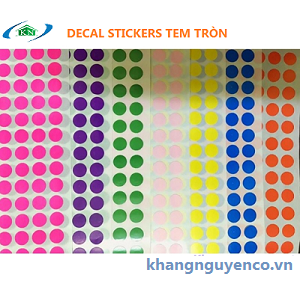 Decal Stickers tem tròn 8mm