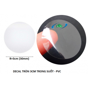Decal stickers tem tròn trong suốt